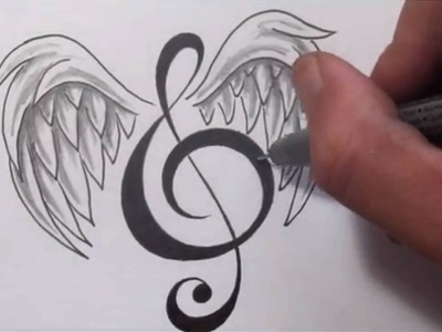 Music Tattoos - Designing a Treble Clef With Wings