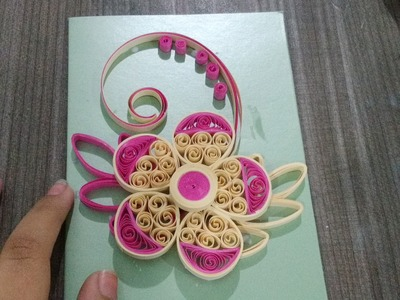 Quilling greeting card with a beautiful flower
