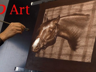 3D Trick Art Drawing of a horse. Speed Painting by Stefan Pabst