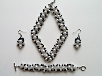 DIY black and white jewelry set.Simple and elegant beaded pattern.