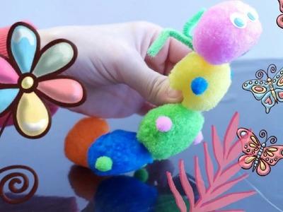 DIY Cute Pom Pom Caterpillar Craft | Super Easy & Fast Kids Pom Pom Craft