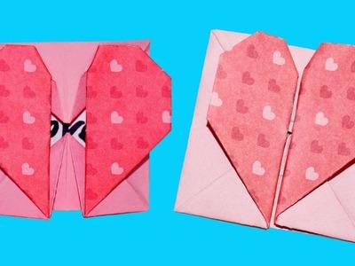 DIY paper crafts - Origami Heart Box & Envelope with Secret Message valentine's day. Julia DIY