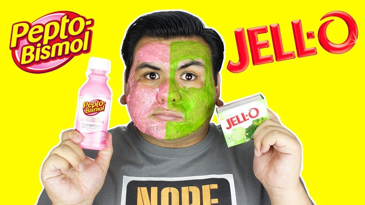 DIY | Pepto Bismol Jell-O Peel Off Mask!!! Farah Dhukai and Karina Garcia Hack Combined!!!