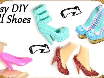 Easy Diy Barbie. Doll Custom Shoes; Cupcake & Glitter Themed - How to recycle old doll shoes