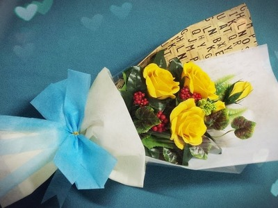 How To Make Flower Bouquet With Five Rose - Craft Tutorial
