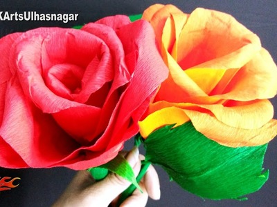 How to make Giant Crepe Paper Rose Flower | DIY Valentine's Day Gift Idea | JK Arts 1153