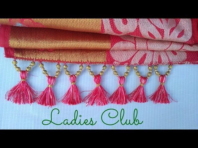How to Make Saree Kuchu.Tassels with Beads Design - 3 I Detailed Tutorial. !!