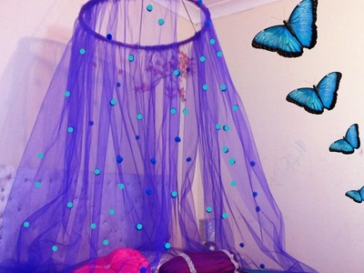 DIY Canopy in 15 minutes.Easy to make bed canopy perfect for small girls