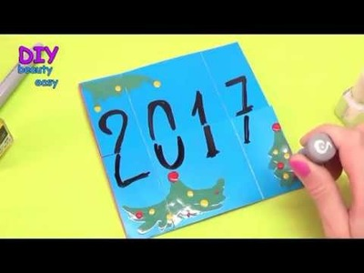 DIY Crafts - how to make magic card. new year card 2017. DIY beauty and easy