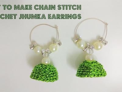 DIY Crochet Silk Thread Jhumka Earrrings using Chain Stitch   Jewelry Series   Craftziners # 49