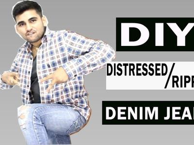 HOW TO: DISTRESSED DENIM JEANS (EASY) | DIY TUTORIAL | [HINDI.URDU]| FASHION GURUJI