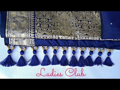 How to make Saree Kuchu with Crystals and Beads Design - 1 I Detailed Tutorial