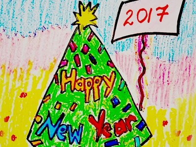 New Year Greeting card design, draw happy new year card, how to draw happy new year card
