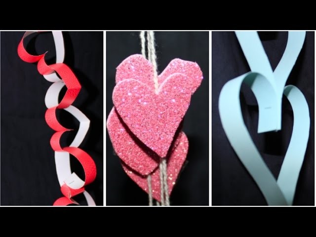 3 DIY heart chains for valentines day room decor | Dorm decor | Valentine's day gift | Paper craft
