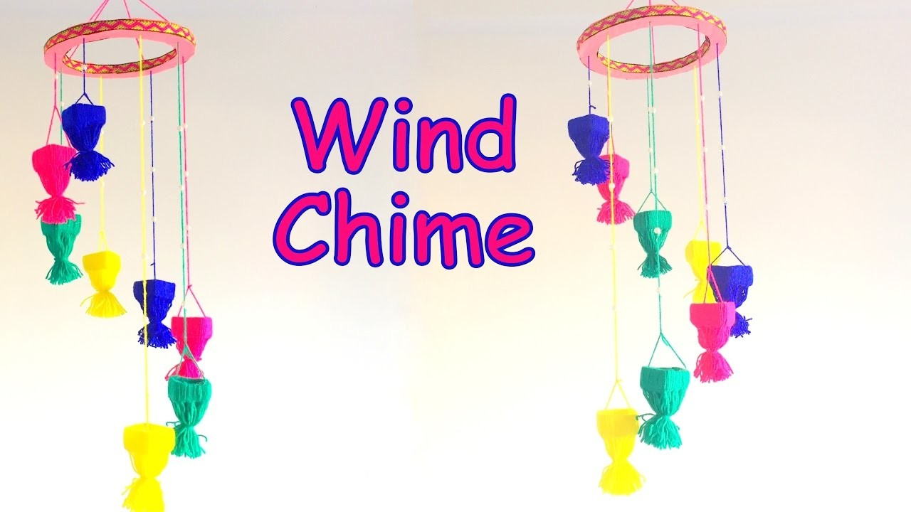 DIY -  How to make wind chime using yarn easily? Home decoration ideas.