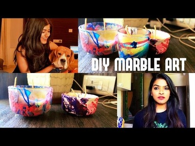 DIY | Marble dyed candle| nail paint ART|2 ingredients | HOME DECOR| +collab with shalini mandal