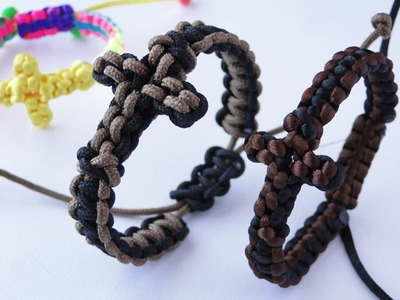 How to Make a Paracord.Macrame Cross Bracelet by CreationsByS- Sliding Knot Bracelet