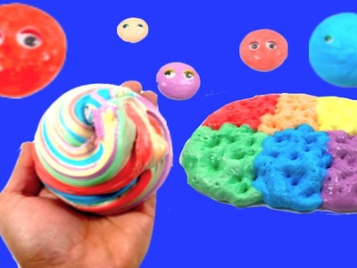 How To Make Fluffy Rainbow Slime Without Borax,Detergent or Liquid Starch!! DIY Bubble Gum Slime