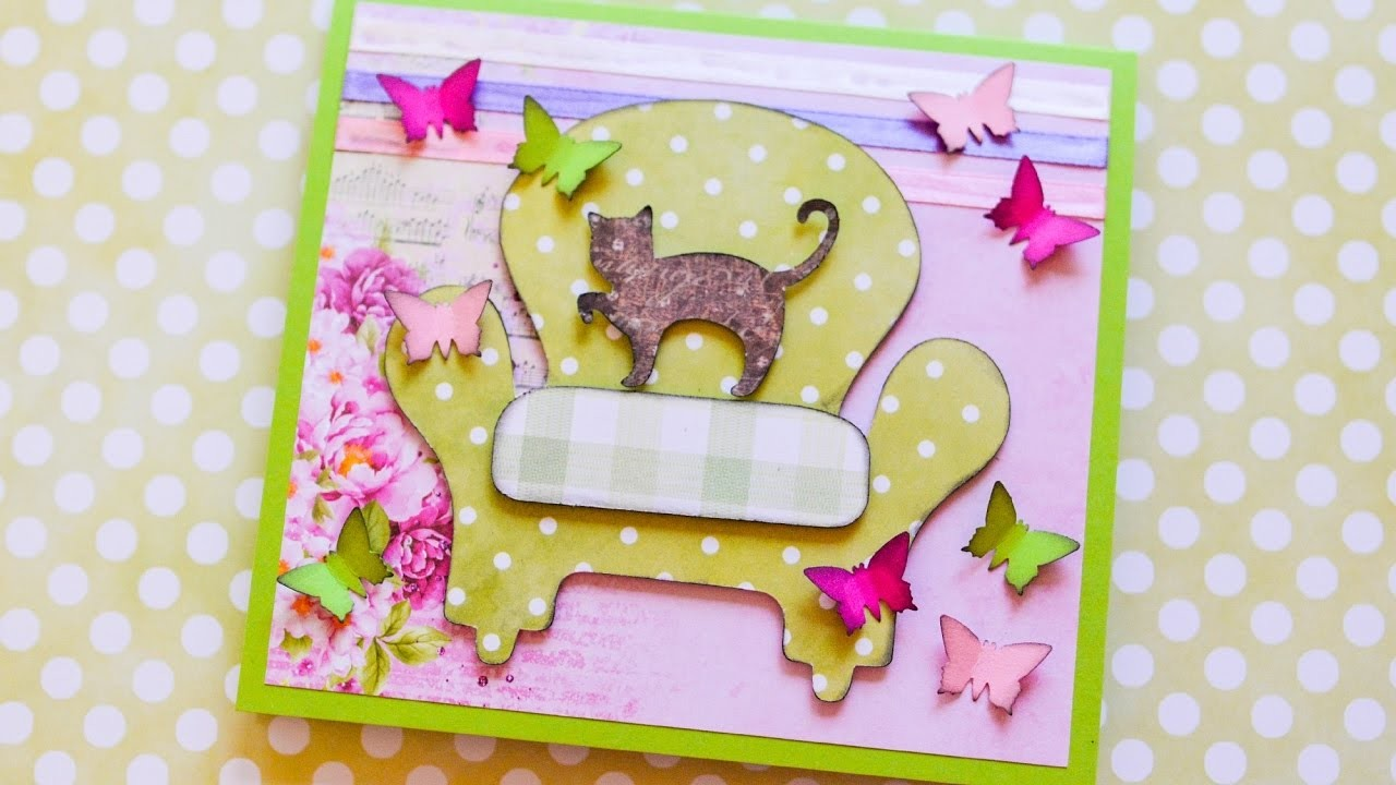 How to Make - Greeting Card Grandmother's Day Butterflies - Step by Step DIY | Kartka Na Dzień Babci