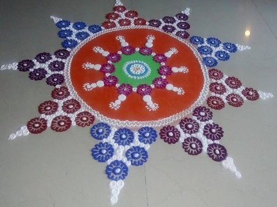 How to make Multicolored Beautiful and Innovative Rangoli Designs.