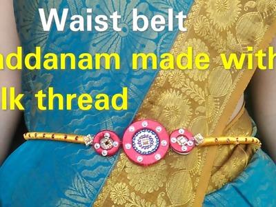 How to make waist belt||vaddanam||silk thread jewellery