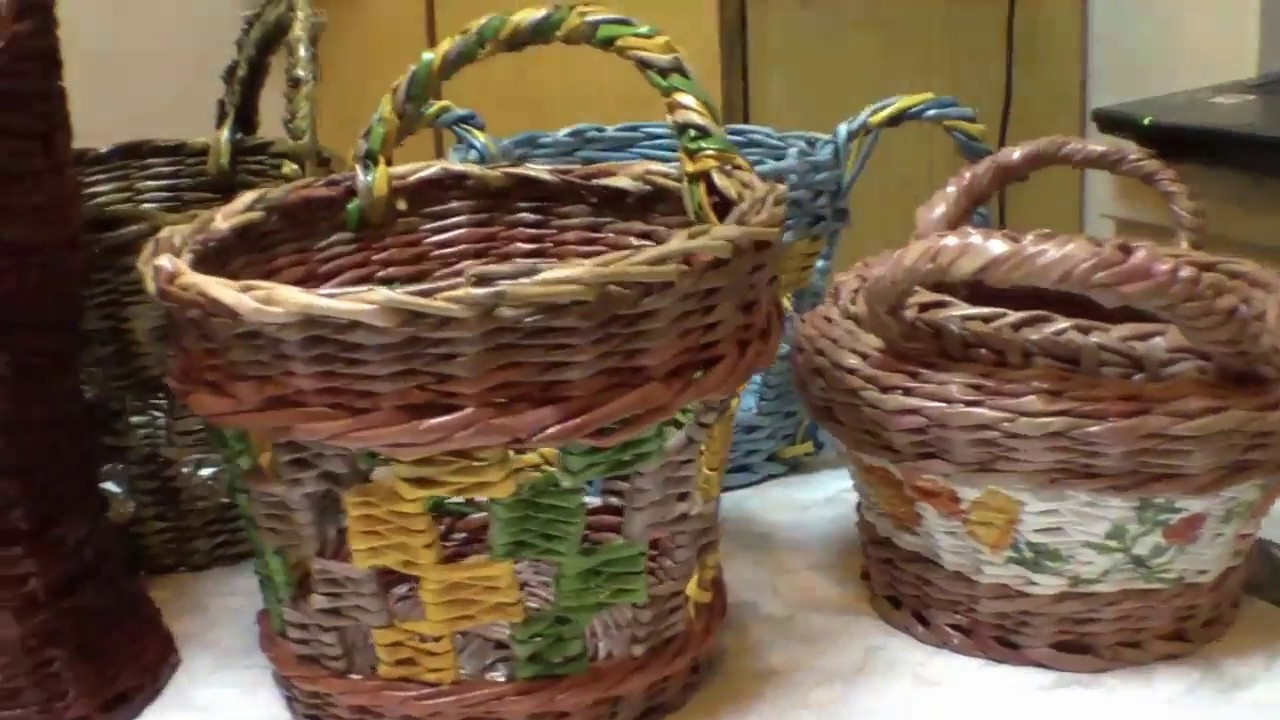 How to weave holders for a paper basket.  Part 6.1.