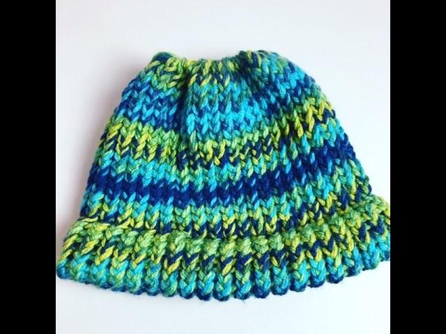 Messy Bun Hat Loom Knitting For Beginners