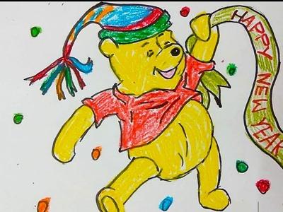 Winnie the pooh wishing new year greeting card, how to draw new year greeting card