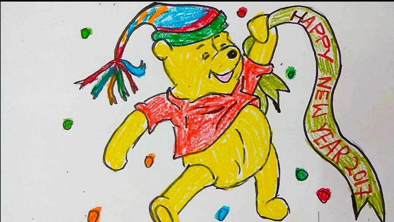 Winnie The Pooh Wishing New Year Greeting Card How To Draw New Year