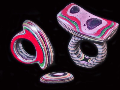 Artistic Plastic Rings Made From Paper And Epoxy