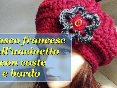 Basco francese all'uncinetto con coste e bordo CROCHET HAT