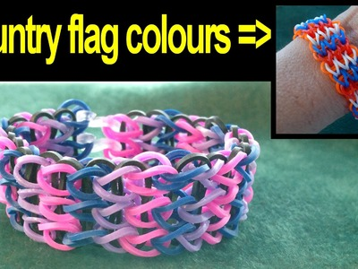 Beading4perfectionists : Loom with rubber bands #2 Making a flag bracelet