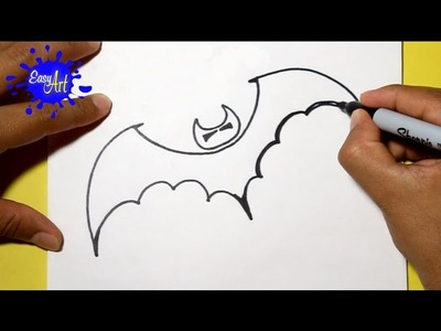 Como dibujar murcielago halloween  - how to draw a Halloween bat, halloween