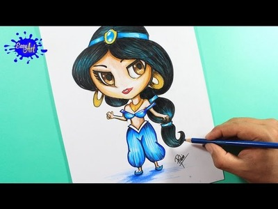 DRAWING JASMINE. Como dibujar jasmin Aladdin l how to draw Jasmine aladdin