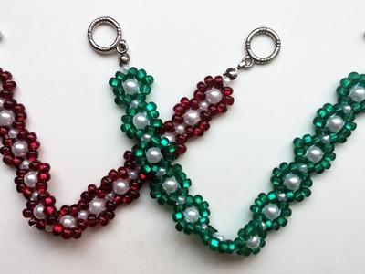 Easy beading pattern for beginners. 2 beaded bracelets - 1 beaded pattern