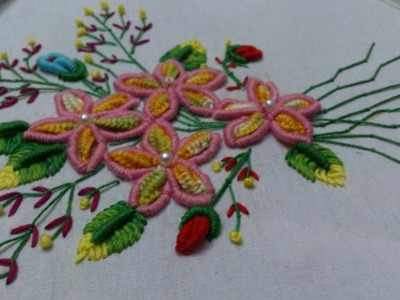 Hand embroidery designs. double cast on, bullion knot, creton stitches tutorial.
