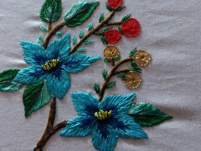 Hand embroidery designs. long and short, stem, button hole,romanian and satin stitches.