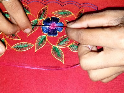Hand embroidery flower with green leaf tutorial | Shakeel Fym
