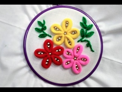 Hand Embroidery - Flowers (with Rubber Hair Band) Stitch