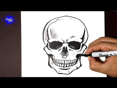 How to draw a skull halloween - how to draw a skull - como dibujar una calavera
