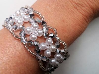 . Jewelry Making for Beginners. Elegant Evening Beaded Bracelet.
