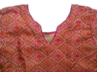 Kurti neck design DIY | cutting and stitching of kurti with lining full video