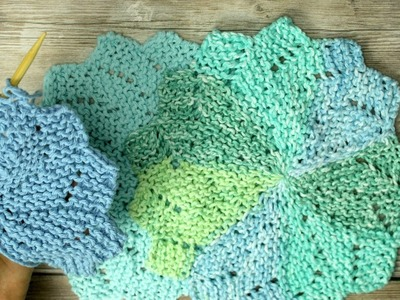 Learn to Knit Flower shaped washcloth aka Almost Lost Washcloth -  Video 2