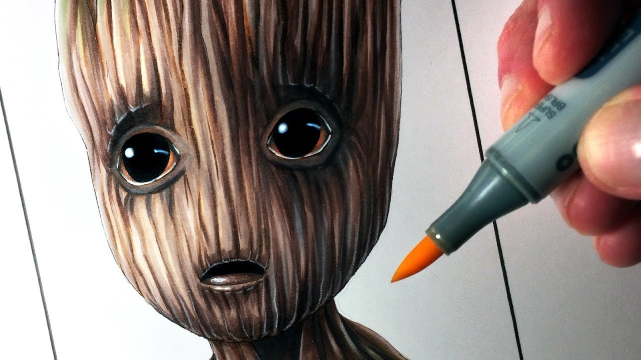 Lets Draw Baby Groot From Guardians Of The Galaxy Vol 2 Fan Art