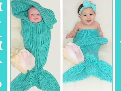Pt. 2 ~Glama's 2 in 1 Loom Knit Mermaid Tail Cocoon.Blanket
