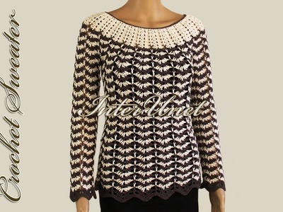 Wavy striped sweater – crochet pullover with sleeves