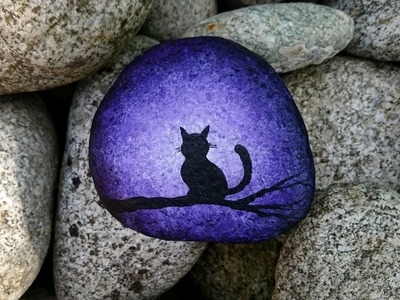 Cat on branch -- Silhouette painting on rock -- SPEED ACRYLIC  PAINTING