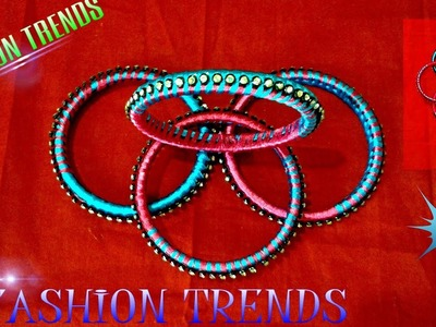 Creative Reuse.Recycle of your Old bangles to New bangles using Silk Thread at Home