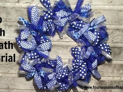 Deco mesh wreath tutorial, how to make deco mesh wreath, how to make blue deco wreath
