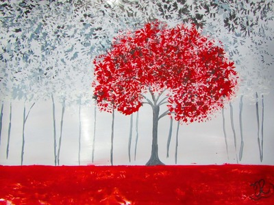 How to Draw and Paint Red & Black Forest - Acrylic Painting